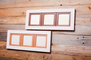 Holzbilderrahmen mit Holzpassepartout - Bilderrahmen, Holzrahmen, Wanddekoration